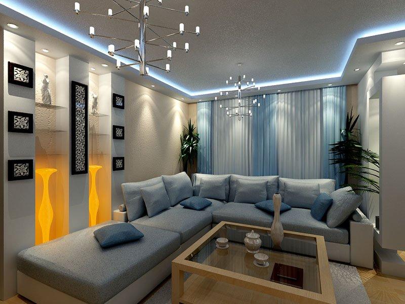 огромный угловой диван в интерьере гостиной